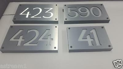 Silver CUSTOM LED ENGRAVED ADDRESS SIGN HOUSE NUMBER SIGN LIGHTED ILLUMINATED