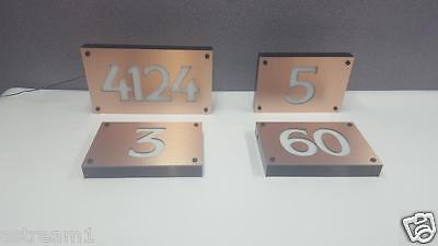 Copper CUSTOM LED ENGRAVED ADDRESS SIGN HOUSE NUMBER SIGN LIGHTED ILLUMINATED