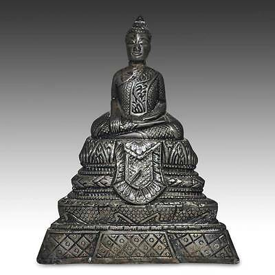 Antique Seated Buddha Silver Clay Laos Southeast Asia Buddhism 19Th C.