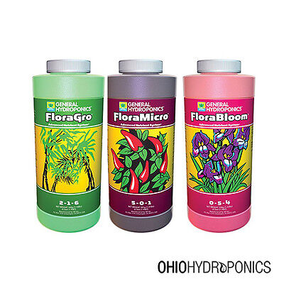 General Hydroponics Flora Series Gro Micro Bloom 16oz Pints - gh nutrients