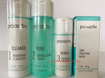 Proactiv 60 Day 4pc Kit Proactive 3-Step System+Purifying Mask- Exp. 08/2019!