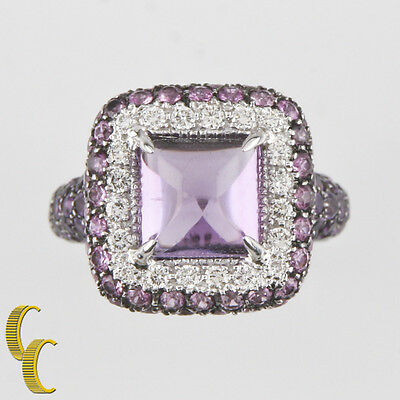 Sugarloaf Amethyst, Diamond, Sapphire 18k White Gold Ring Size 6.5