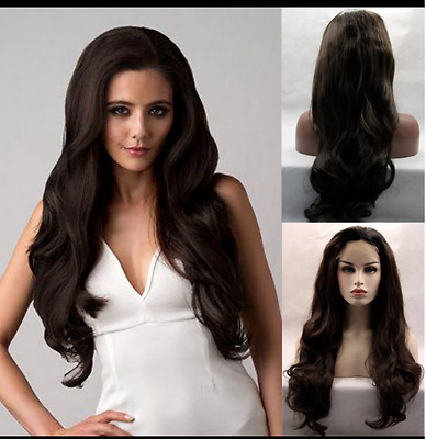 #2 Dark Brown Front Lace Synthetic Wig Long Wavy