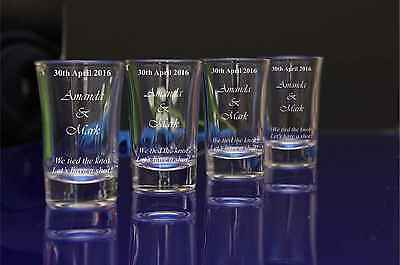 85 Personalised Engraved 60ml conical Shot Glass Wedding Birthday Stag Hen Party