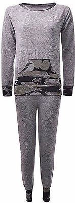 Ladies Womens Army Camouflage Pouch Tracksuit Lightweight Jog Gym Lounge Suit