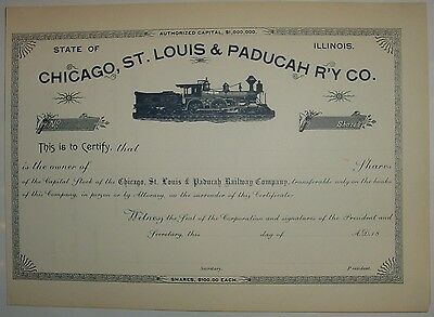 Chicago St. Louis & Paducah  Railway Co. Stock Certificate Railroad