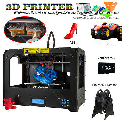 Black Makerbot Replicator 2 3D-Printer-2 Extruders + 1KG (ABS or PLA) filament