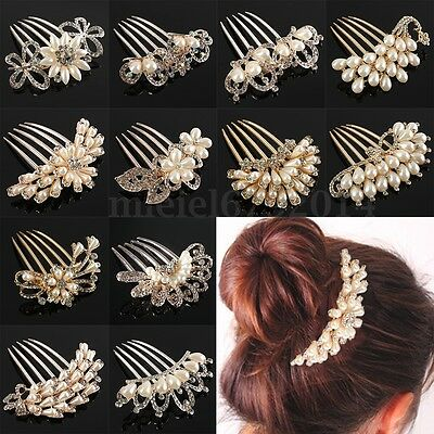 Crystal Diamante Pearls Bridal Wedding Party Hair Comb Headdress Clip Pin Decor