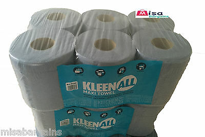 6 x  Blue Centre feed Rolls 2ply Wiper Paper Towel Kitchen Roll 2 ply Tissue