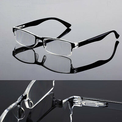 New Black Designer Men's Spring Hinge Temple Half Rimless Reading Glasses Reader