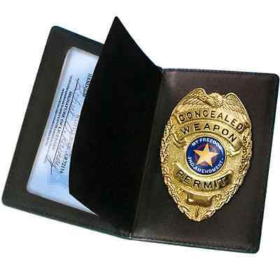 PS Black Concealed Weapon Permit Holder Badge Holders