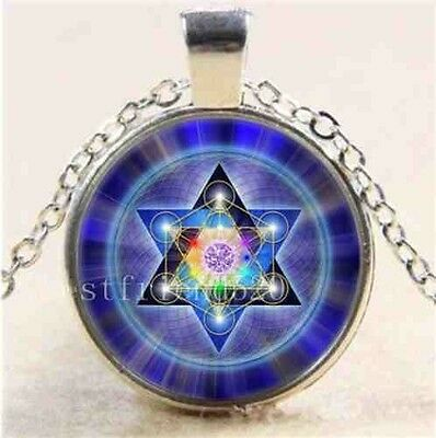 Star of David & Metatron's Cube Sacred Geometry Pendant Amulet Silver Necklace
