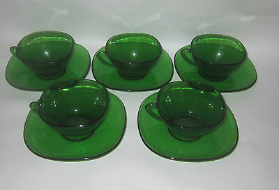 Anchor Hocking ? Forest Green Five Cup and Saucer Sets