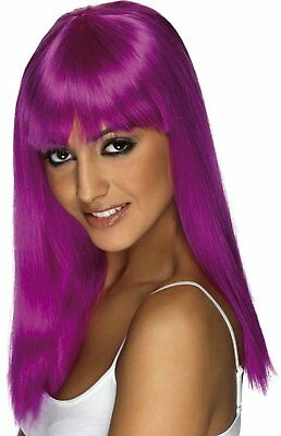 Adult Glamour Glamourama Long Straight Hair with Bangs Neon Purple Costume Wig