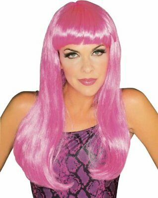Adult Rubie's Long Chest Length Wavy Hair with Bangs Neon Hot Pink Costume Wig