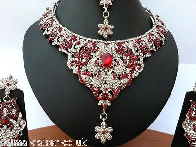 Indian Bollywood Delicate Style Jewellery Set Red Silver Plated New - Aq/160