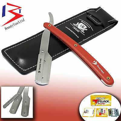 RED STRAIGHT CUT THROAT SHAVETTE Men SHAVING RAZOR NAVAJAS PARA AFEITAR + BLADES