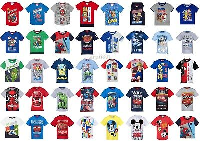 Boys Kids Characters Short Sleeve Tee T Shirt Top age 2-12 years Paw Patrol Cars