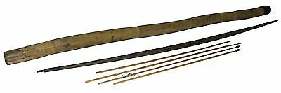 【RARE】Vintage African Tribal Zebrano Bow,Metal Arrows & Bamboo Quiver!Zebra Wood