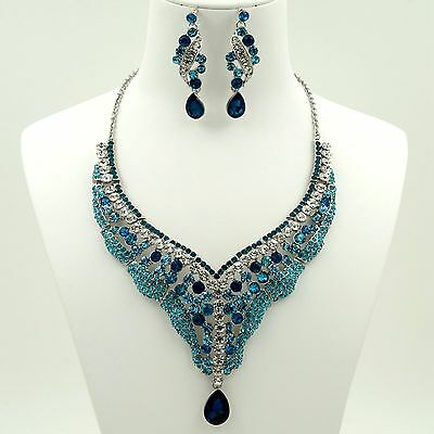 New Gorgeous Rhodium Plated Blue Crystal Necklace Earrings Jewelry Set 03225