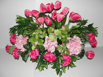Deluxe Pink Tulips Geranium Hops Mothers Day Cemetery Memorial Tombstone Saddle