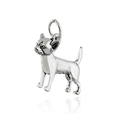 Chihuahua Dog Charm - 925 Sterling Silver - Puppy Small Breed Mexico Mexican NEW