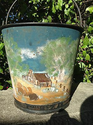 Antique Malleys Steel Milking Bucket with Folk art painting.
