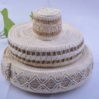 Jute Burlap Braided String Hessian Ribbon Rope Tape Wedding Party Craft Deco
