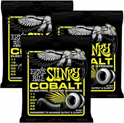 3 Sets Ernie Ball 2727 Cobalt Beefy  Slinky  Electric Guitar Strings 11 - 54