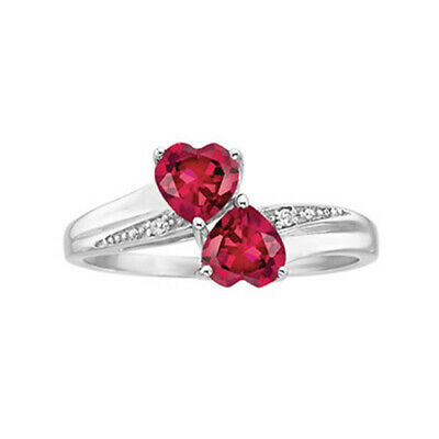 Created Ruby Double Heart Ring in Sterling Silver