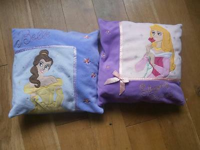 "2x Disney Princess Cushions Belle and Sleeping Beauty 13"" square"