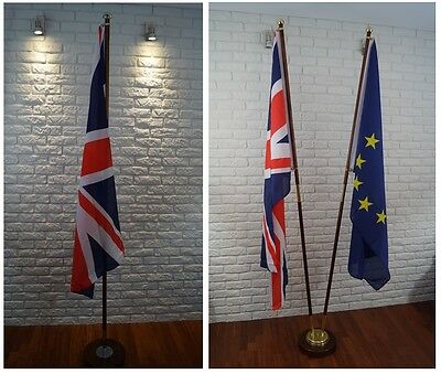 """CEREMONIAL FLAG POLE with brass/stainless steel fittings STAND OFFICE 2.2m 86"""""""