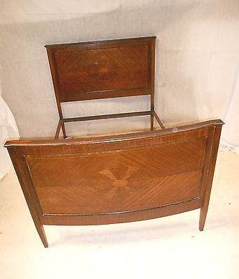 ANTIQUE VICTORIAN SHERATON REVIVAL BOWFRONT BED c1890-1905 DOUBLE MAHOGANY BED