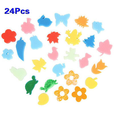 24pcs Different Shapes Children Crafting Painting Sponge Stamp BF