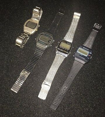 Lot Of 4 Vintage Digital Watches Casio Sanyo Realtime Mercury Time