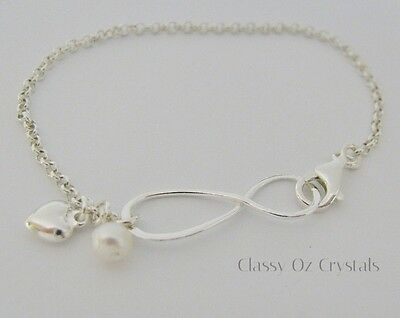 925 Sterling Silver Infinity Karma Bracelet with Fresh Water Pearl & Heart Charm
