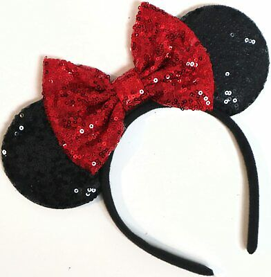 MINNIE MOUSE EARS Headband Black Sparkle Shimmer - Large Red Sequin Bow Mickey