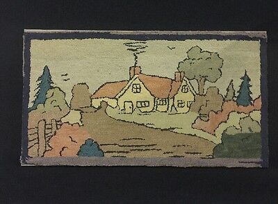 Mounted Antique American Folk Art Wool Hooked Rug Of Farm House