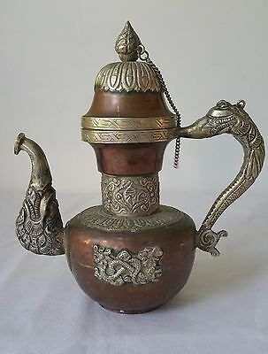 Vintage Old Copper / White Metal Chinese Dragon Wine Tea Pot Flagon Collectible