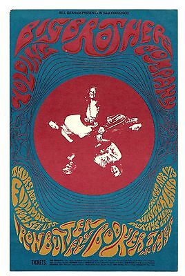 ORIGINAL BG-115 Postcard BIG BROTHER & THE HOLDING CO JANIS JOPLIN Fillmore 1968
