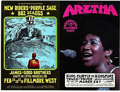 ORIGINAL BG-271 BG-272 Double Postcard ARETHA FRANKLIN Fillmore West '71 SINGER
