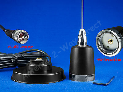 Gmrs Uhf Antenna Nmo Magnetic Mount Pl-259 Kit Compatible Kenwood Icom Mobiles