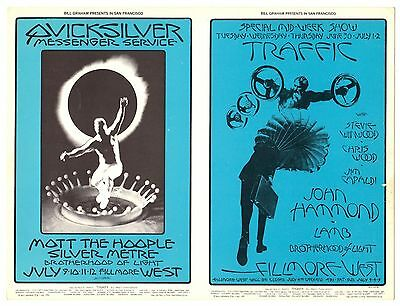 ORIGINAL BG-241 BG-242 Double Postcard TRAFFIC Fillmore West 1970 DAVID SINGER
