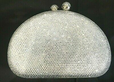 New Stunning Pearl & Crystal Silver Evening Clutch Bag