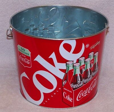 Coca-Cola Steel Bucket  With Wire Coke Bottle Handle - Go Refreshed Coke - New!