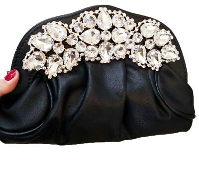 New Silver & Multi Color Floral Crystal Hard Shell Clutch Bag- 7.5 '' x  5''