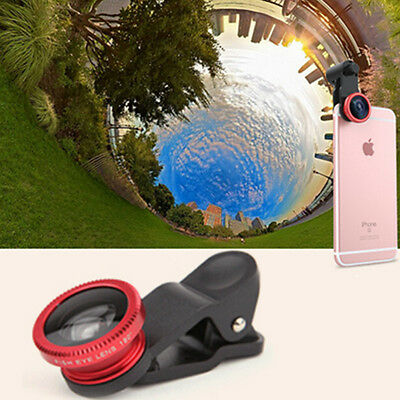 Red Clip 3 in1 Camera Set Wide Angle+Fisheye+Macro Lens For IPhone Smart Phone