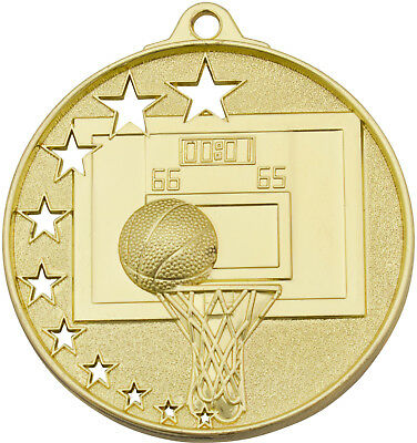 Basketball Medal Gold 50mm With Neck Ribbon Engraved FREE