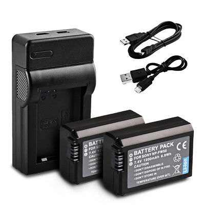 AU LOCAL  2* battery + USB charger for sony np-fw50 NEX-3 NEX-5 NEX-7 RX10 A33
