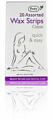 Pretty 20 Assorted Classic Wax Strips Quick & Easy For All Skin Types